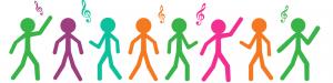 Vihreät, oranssit ja monen muun väriset tikku-ukot tanssivat nuottiavaimien tahtiin.