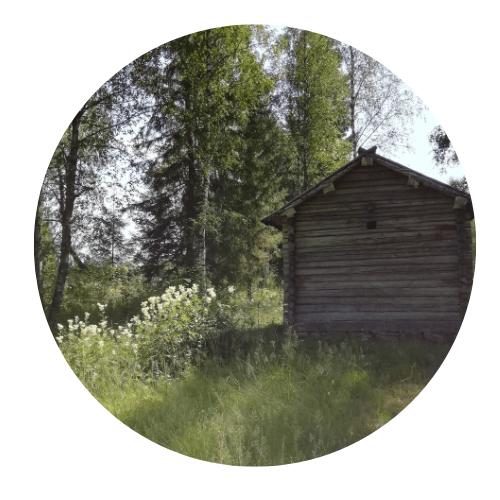 Pyöreä kuva vanhasta hirsirakennuksesta luonnon keskellä.